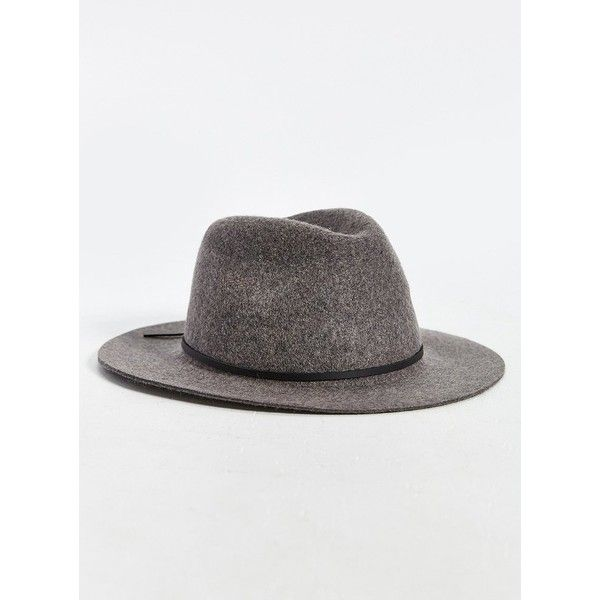 Brixton Wesley Wide Brim Fedora ($52) via Polyvore featuring men's fashion, men's accessories, men's hats and grey