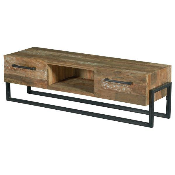 Tv-Dressoir Lilou small is onderdeel van de Lilou collectie. Dit TV-meubel is voorzien van een open vak en met aan weerszijde een lade. Deze collectie bestaat uit diverse meubelen in de kleur C121 Grey White wash. Dit meubel is gemaakt van dennenhout met een metalen frame. Het dressoir is afgewerkt met beits, patine en lak (matlak).