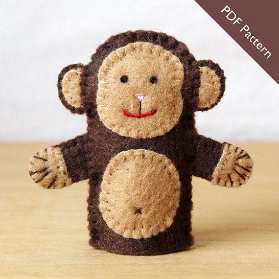 Pattern felt finger puppet pattern monkey by KendrickStorytime