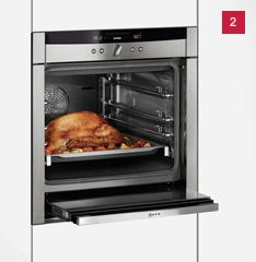 Slide&Hide ensures an easy and flexible approach to your cooking needs--the front door slides underneath so that it is out of the way when you are trying to take something out of the oven. Clever. Not available in the U.S., apparently, but you can see it in action on The Great British Baking Show which is being shown on PBS.