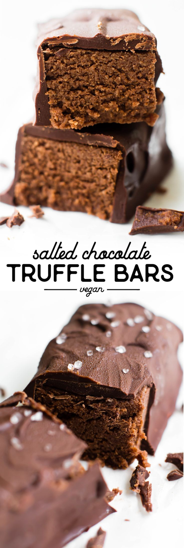 Rich creamy-meets-fluffy filling blanketed in semi-sweet chocolate makes these Salted Chocolate Truffle Bars an easy indulgence you won't be able to resist! #vegan #glutenfree