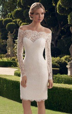 Scalloped Off the Shoulder Dress by Casablanca Bridal 2169S