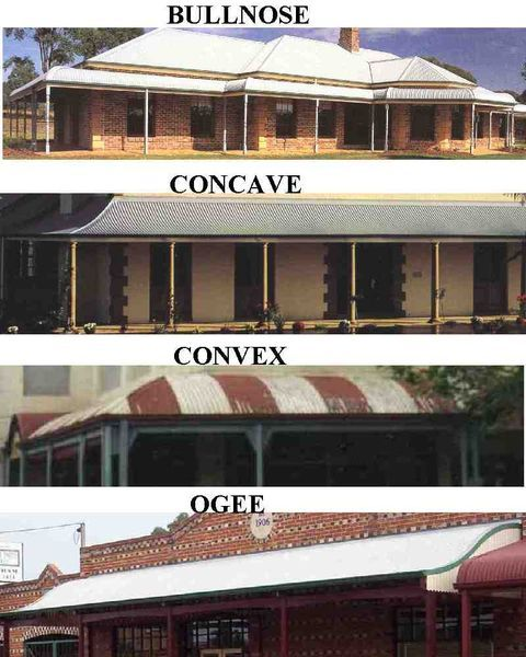 4 types of verandas timber and metal Australian balconies - bullnose, concave, convex and ogee