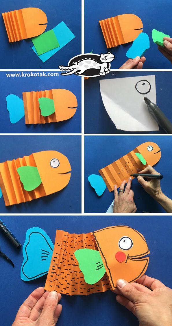Peces de papel: ideas divertidas y fáciles - Manualidades Kids Crafts, Sea Crafts, Summer Crafts, Preschool Crafts, Projects For Kids, Paper Crafts, Preschool Christmas, Art Projects, Christmas Crafts