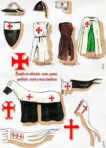 Esta imagen muestra las vestimentas que utilizaron los caballeros de la Orden del Temple durante la época de las Cuzadas.