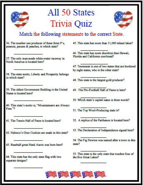 All 50 States Trivia Etsy Fourth Of July Crafts For Kids Trivia Questions And Answers This Or That Questions