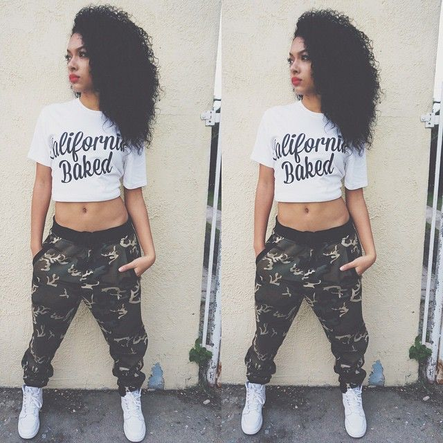 California Baked Crop Top Tee Army Combat Pants Dope Swag Streetwear Urban Fashion Style Trend Curly Hair Girls Rock Mixed Chicks Milliondollamaza