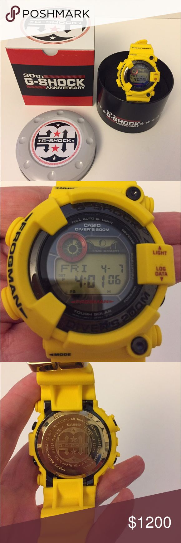 G-Shock Frogman 30th Anniversary Watch G-Shock Frogman GF-8230E-9CR 30th Anniversary Lightning Yellow Limited watch that comes with tough solar, 200m waterproof for diving, Moon data, and Tide graph. Mint Condition, No Scratches! G-Shock Accessories Watches
