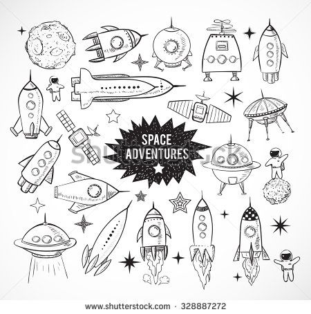 Collection of sketchy space objects isolated on white background. Space ships, rockets, space shuttle, planets, flying saucers, astronauts etc.