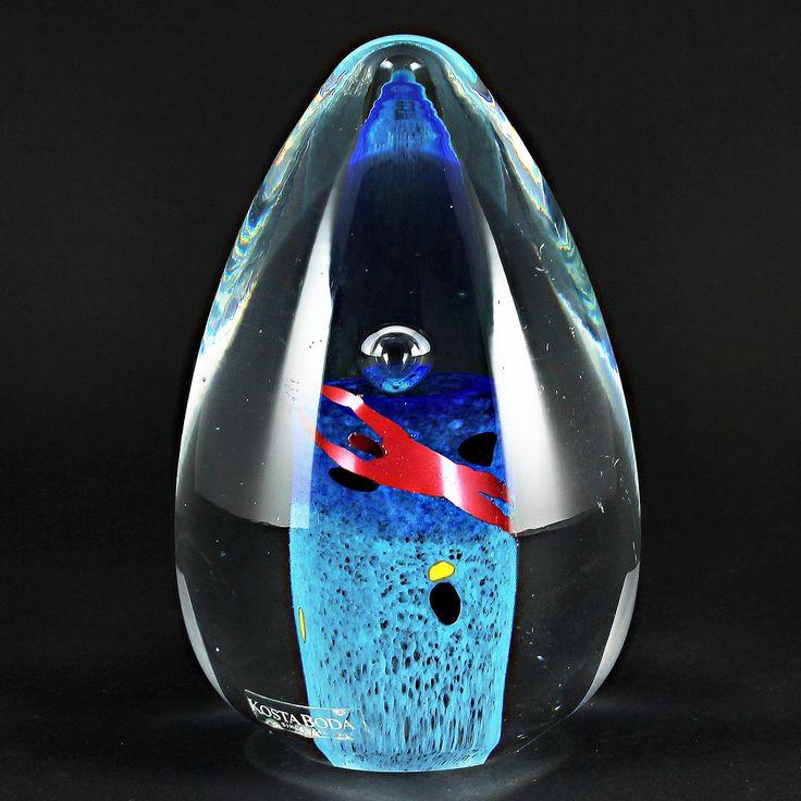 Bertil Vallien (1990s) Marvelous Glass Egg with Swimmer