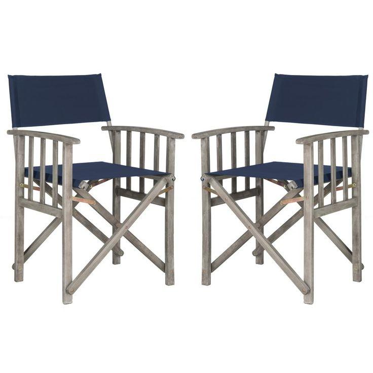 Laguna Green Folding Director's Chair (Set of 2), Gray Wash/Blue