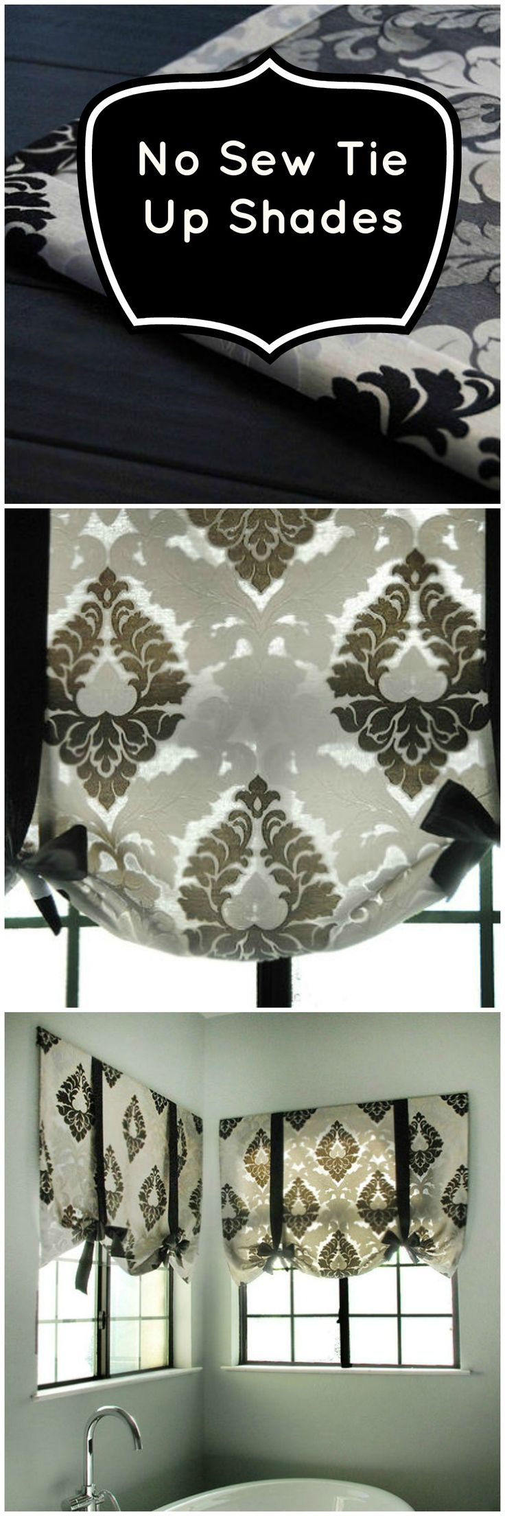 Great curtain/shade idea for master bath | No sew tie up shades (gorgeous and EASY!)