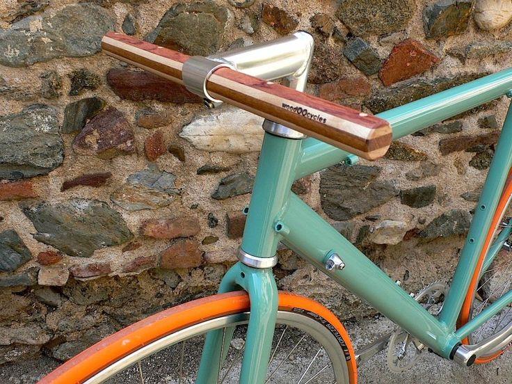 bubinga and maple wood straight bicycle handlebar. €50.00, via Etsy.