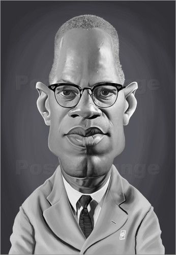 Rob Snow | caricatures - Malcolm X art | decor | wall art | inspiration | caricature | home decor | idea | humor | gifts