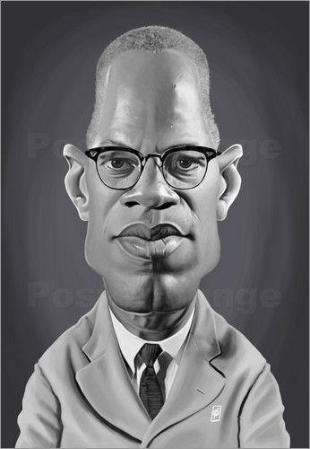 Rob Snow | caricatures - Malcolm X art | decor | wall art | inspiration | caricature | home decor | idea | humor | gifts
