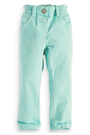 Узкие мятные джинсы