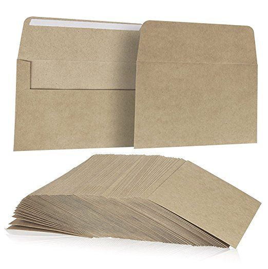 100 Pack, Size A7 Brown Kraft Paper Envelopes Self Sealing Adhesive Stationery For General, Office, Home Use - Tan - Set of 100 - 5.25 x7.25 Inches
