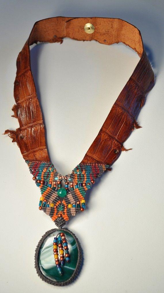 Agate and Vintage Alligator Macrame Necklace