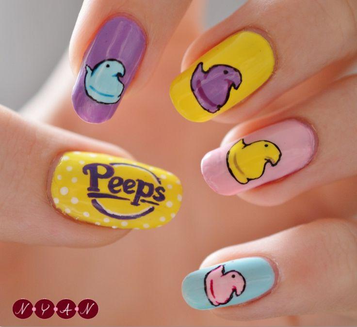 N.Y.A.N. easter peeps #nail #nails #nailart
