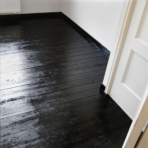 Bedroom progress | Flickr - Photo Sharing! Black Hardwood FloorsBlack  FloorboardsPainting ...