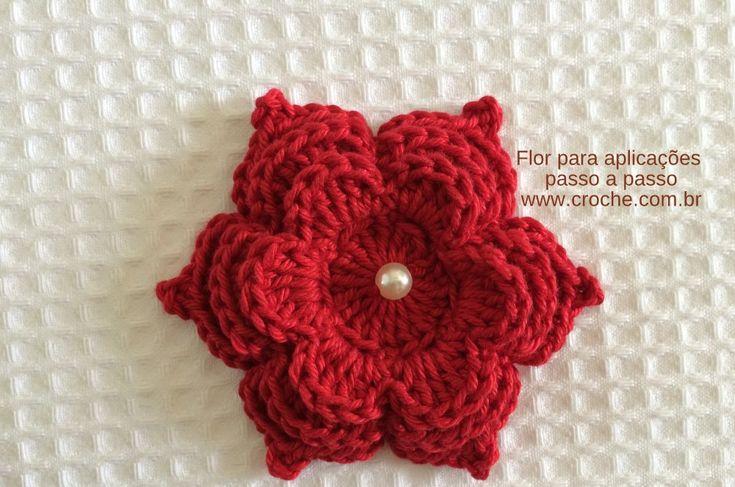Flor para aplicações 2 passo a passo | Croche.com.br