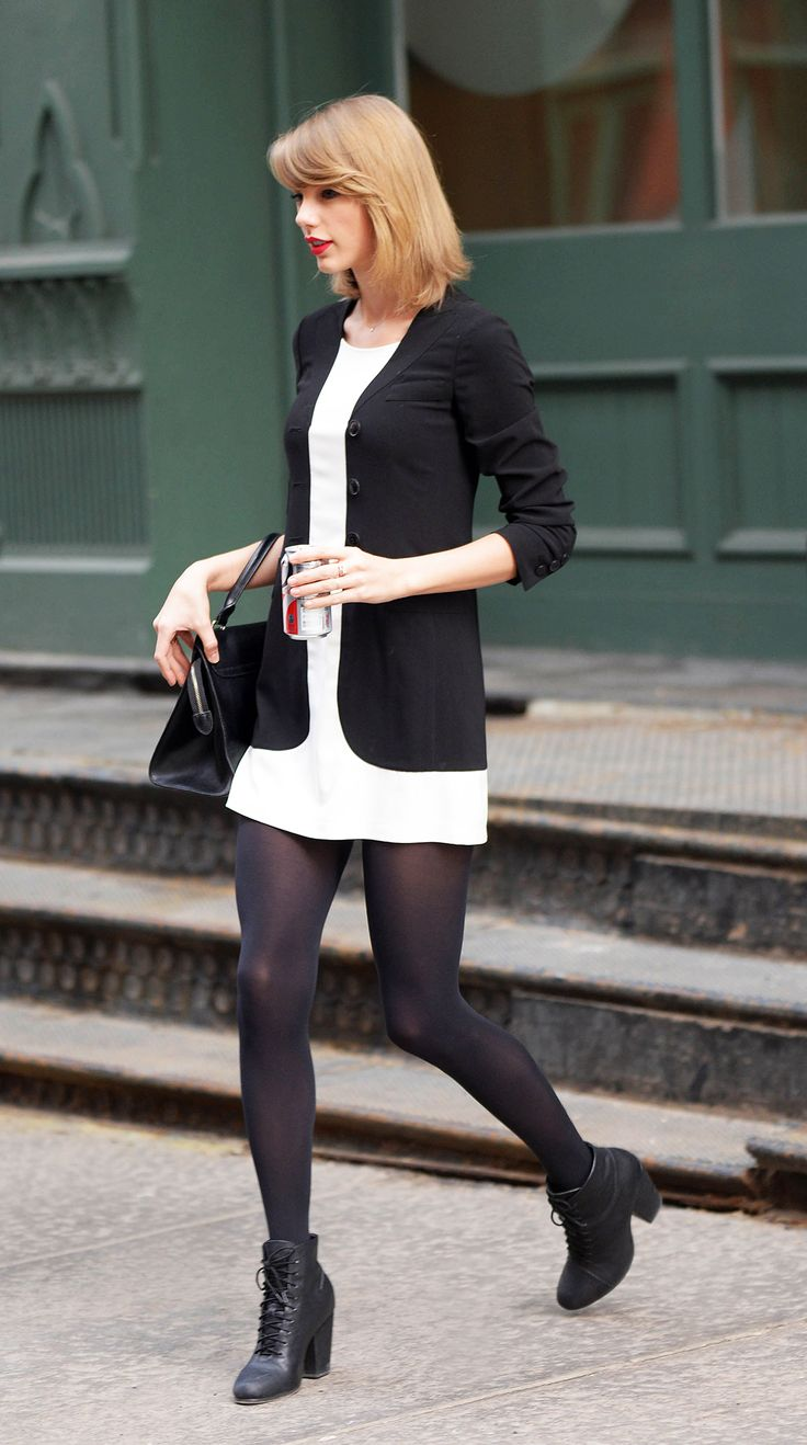 Taylor Swift in a black and white ensemble // #Fashion #Style