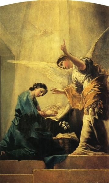 The Annunciation, 1785 by Francisco Goya. Romanticism. religious painting. Private Collection