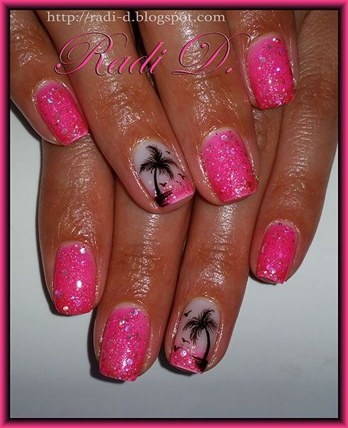 Glittery Gel Polish With Palm Trees by RadiD via @nailartgallery #nailartgallery #nailart #nails #gelpolish