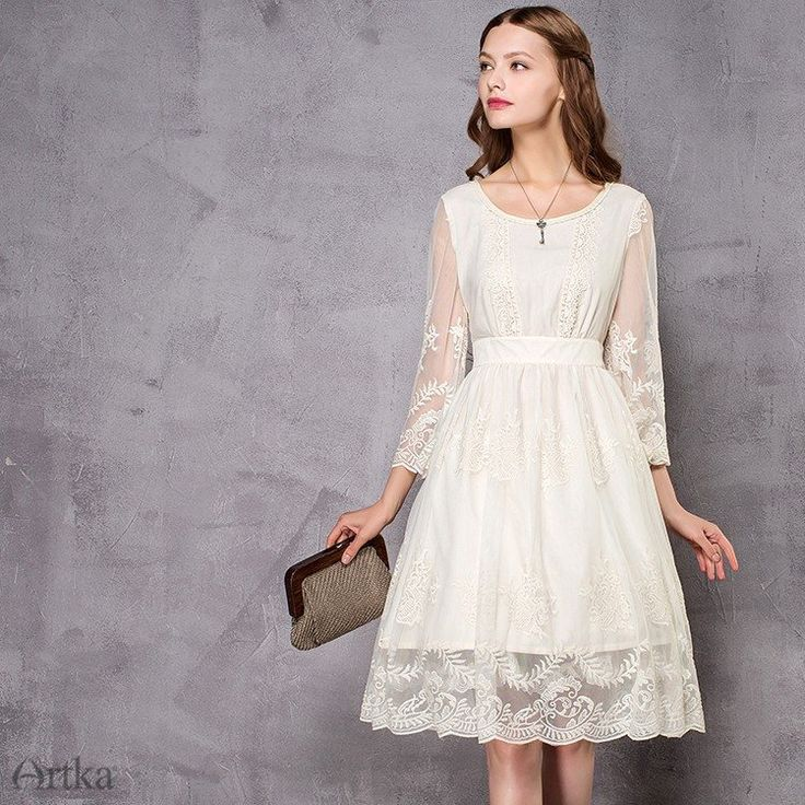 Delightfully sweet and deliciously cool flare sleeve vintage dress, is fashioned from a texturally rich mix of embroidery, lace detailing and tucked pleats. Kne