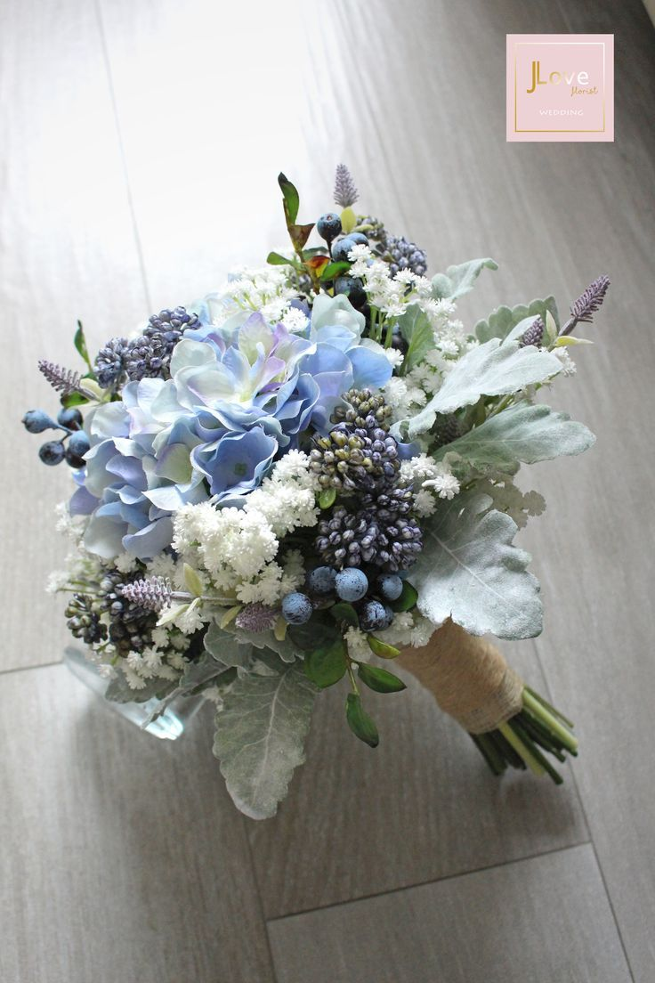 Bridal Bouquet In Hydrangea Baby S Breath Berries And Dusty
