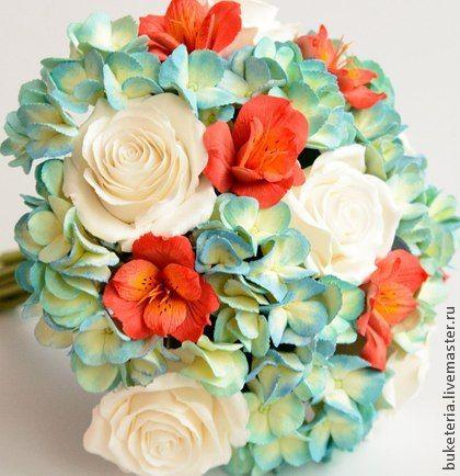 Букет невесты с цветами из полимерной глины. Состав букета: гортензия, альстрамерия, розы. Букет невесты, свадебные цветы, цветы из полимерной глины,  wedding flowers, Bridal bouquet, wedding bouquet, deco clay