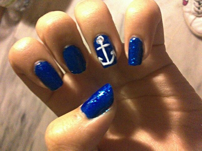 Blue nails with an anchor