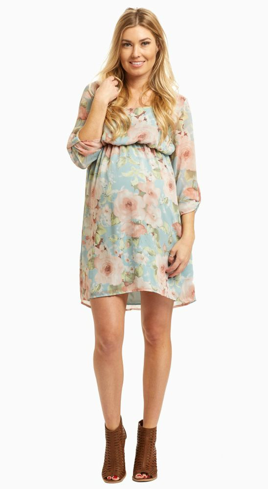 Light Blue Floral Chiffon 3/4 Sleeve Maternity Dress