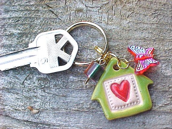 Red Heart Key Ring Lime Green Little Clay House KEY Chain Pottery  Available in my etsy shop http://www.potterybyanita.etsy.com