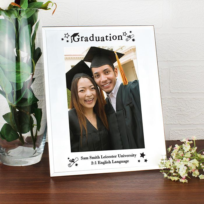 Personalise this Mirrored Graduation Glass Frame with up to 2 lines of 30 characters each Graduation is standard text Frame is portrait and holds a
