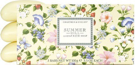 Crabtree & Evelyn Summer Hill - Triple-Milled Soap by Crabtree & Evelyn. $18.60. Our creamy lathering soap blends nourishing extracts of honey, linden and mallow in a moisturizing vegetable base. Following in the tradition of 19th century French triple-milled soap makers, we take thirty steps to create each individual bar.