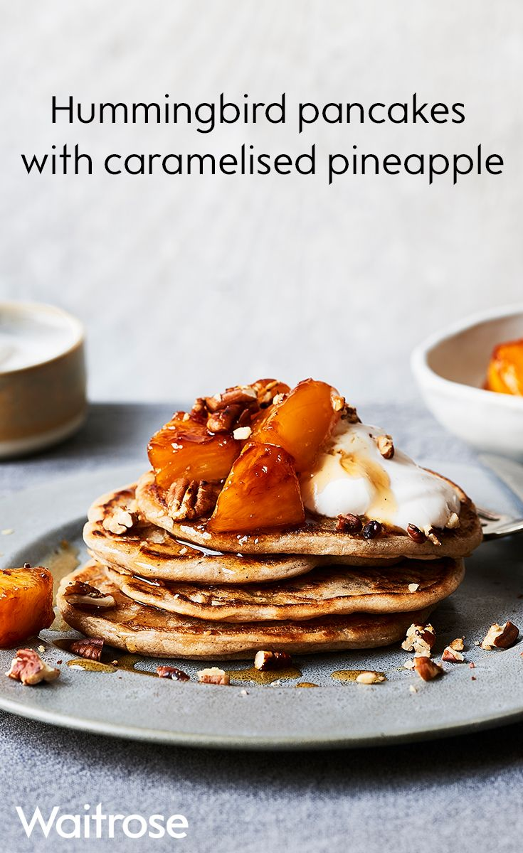 Based on the pineapple and banana 'hummingbird' cake, these softly spiced pancakes are a tropical treat. Stack the pancakes and top with pineapple and yogurt then sprinkle over pecans and drizzle with extra rum syrup. See more Pancake Day inspiration on the Waitrose website.
