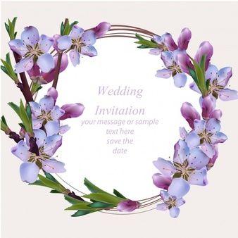 Tarjeta de boda con corona floral morada