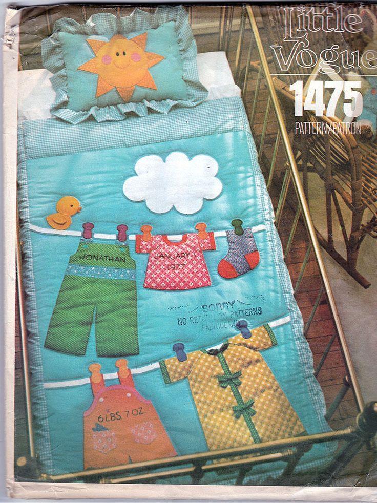 Vintage Little Vogue Pattern 1475 Baby Quilt Amp Pillow Sham