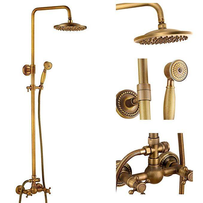 Antique Brass Bathroom Shower Faucet Set Brushed Gold Shower