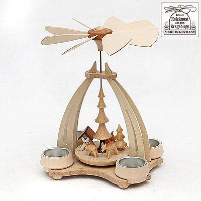 Echtholz Pyramide Rehe mit Futterkrippe ca. 18 x 14 x 24 cm für 4 Teelichter Feinste Holzkunst aus dem Erzgebirge !!
