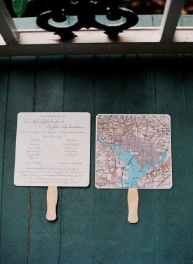 Map wedding programs - great for coordinating decor. Could be transferred to wedding menus at the reception too.