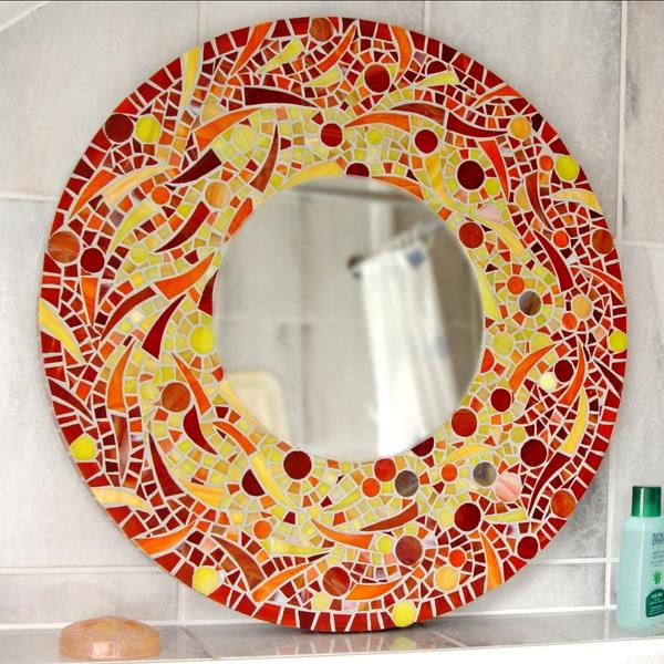Die 25 besten ideen zu mosaikspiegel auf pinterest lila - Spiegel verzieren ...