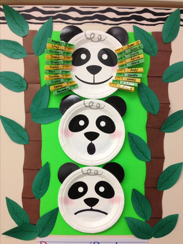 """Panda """"emotions"""" chart for interactive attendance! Children can pin their name by how they feel and by the end of the day, their parents can see if they are in better spirits!"""
