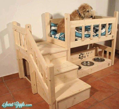 Your furbaby would love this amazing Dog House and Loft Bed, complete with his own feeding area!