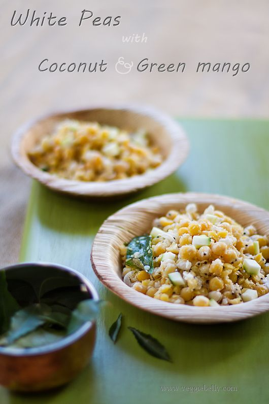 White peas, tossed with coconut and green mango. A famous street food on the beaches of Madras, India