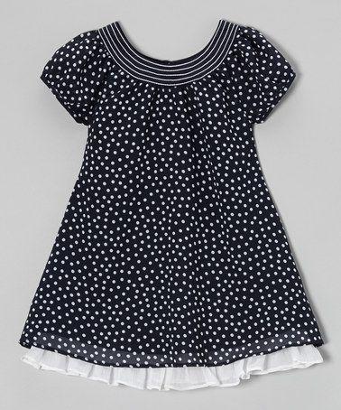Navy & White Ruffle Hem Swing Dress - Toddler & Girls #zulily #ad *So sweet