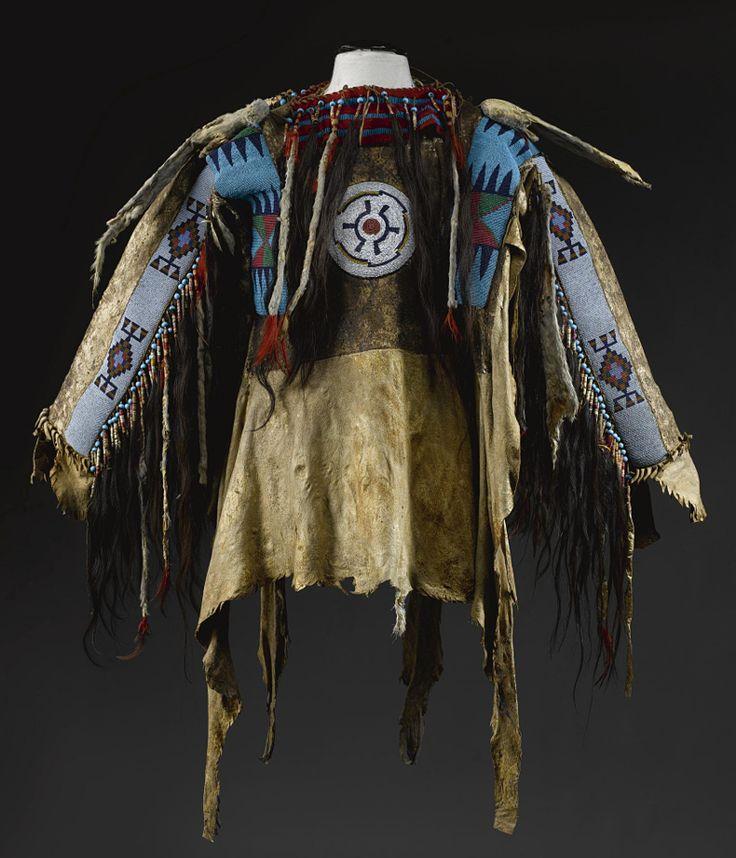 BLACKFOOT BEADED AND FRINGED HIDE MAN'S WEARING SHIRT,,,,,My father's mother is half Irish & half Blackfoot Indian