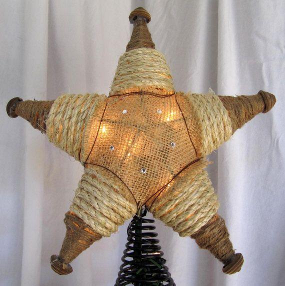 Arpillera país occidental árbol de Navidad estrellas rústico Navidad iluminado árbol estrella