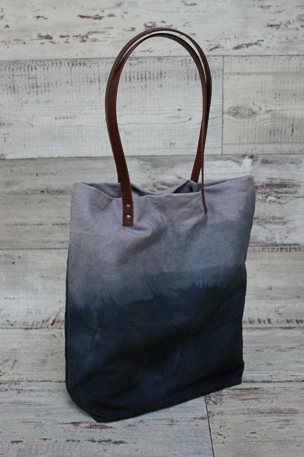 Schultertasche im Ombre Look / dip dye shopper bag, blue indigo by Lemel via DaWanda.com